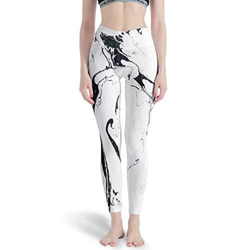 Ballbollbll Negro y blanco mrmol tinta mujer pantalones de yoga cintura alta y control de barriga sin costuras para la aptitud running leggings, Diario Ocio blanco s