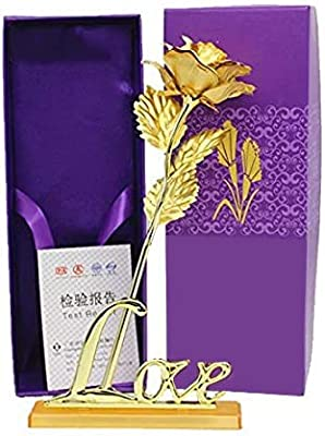 Msa Jewels Gold Plated Rose with Love Stand and Gift Box