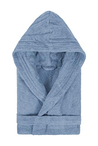 LASA Bademantel mit Kapuze, 100% Baumwolle, Marine, Größe XL