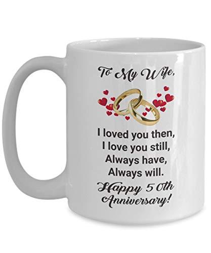N\A Ideas de Regalos para el 50 Aniversario - Taza de café para la Esposa - para MI Esposa Feliz 50 Aniversario de Bodas de Cincuenta años para Sus Mujeres del Esposo