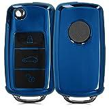 kwmobile Funda para Mando Compatible con VW Skoda Seat - Funda TPU Llave con Botones para Llave de 3 Botones para Coche VW Skoda Seat - Azul Brillante