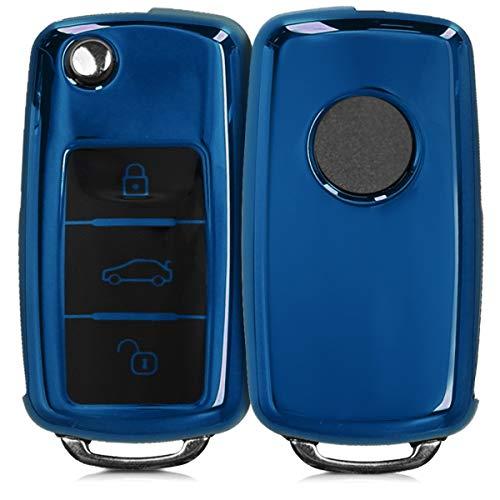 kwmobile Autoschlüssel Hülle kompatibel mit VW Skoda Seat 3-Tasten Autoschlüssel - TPU Schutzhülle Schlüsselhülle Cover in Hochglanz Blau