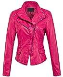 chouyatou Women's Stylish Oblique Zip Slim Faux Leather Biker Outerwear Jacket (XX-Large, Rose)
