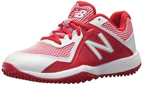 New Balance Kid's 4040 V4 Turf Baseball Shoe, RED/White, 2 Medium US Little Kid
