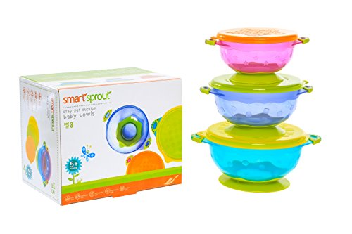 Purchase Smart Sprout Baby Bowls – Stay Put Suction Bowls Set with Snap Tight Lids - FDA Approved,...