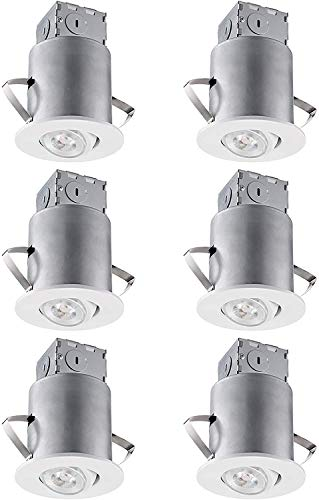 TORCHSTAR Gimbal Recessed Lighting Kit, 3 Inch Air Tight IC Rated Housing, White Trim, LED Dimmable GU10 Bulb, ETL Listed, 5000K Daylight, Adjustable Slim Downlight, Pack of 6