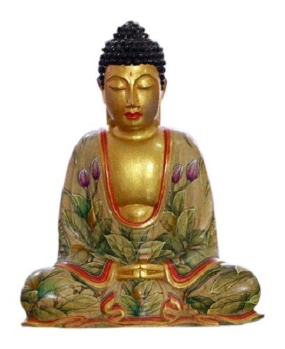 NOVICA Metallic Religious Crocodile Wood Sculpture, 6.25' Tall 'Buddha of Paradise'