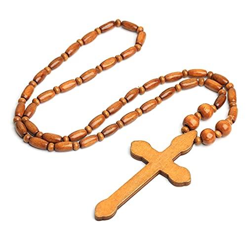 Collier chapelet en bois naturel avec pendentif en forme de croix de Jésus sculpté - Style Harajuku - Style punk religieux - Accessoires de vêtements chrétiens