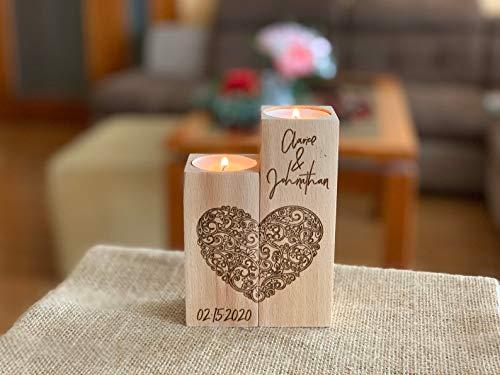 Personalisierter Kerzenhalter aus Holz, Graviertes Herz, Set 2 Teelichthalter mit Namen und Datum, Wunschnamen, Namensgravur Kerzenleuchter, Liebe, Partner Geschenke für Hochzeit Valentinstag