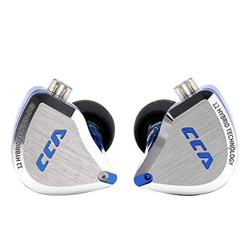 CCA C12 5BA+1DD HIFIハイブリッド型イヤホン 酸化処理で亜鉛合金フェイスプレート 肌に無害な医療用な樹脂 金メッキ3.5mmプラグと金メッキ0.75mm2pinコネクタ 重低音 リケーブル可能 脱着式 ノイズキャンセリング 中華製イヤホン