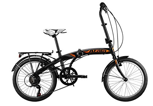 """Atala Nuovo Modello 2020 Bici Pieghevole ultracompatta Blue Lake 20"""", Colore Nero - Arancio, 6 velocità"""