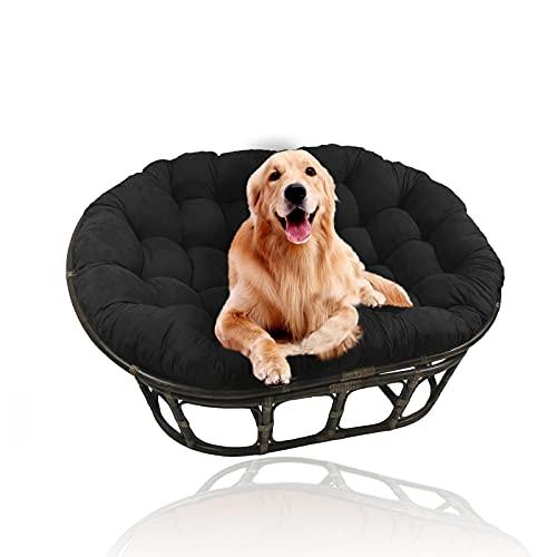 YHWL Cojines dobles de Papasan, cojín para silla de huevo, cojines colgantes para silla con lazos, cojines para silla de columpio, solo para patio al aire libre, jardín (sin silla), negro, 90 x 130 cm