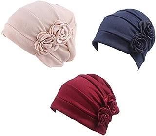 3 Packs Chemo Headwear for Women Turbans Beanie Hats Stretch Hair Cap Set