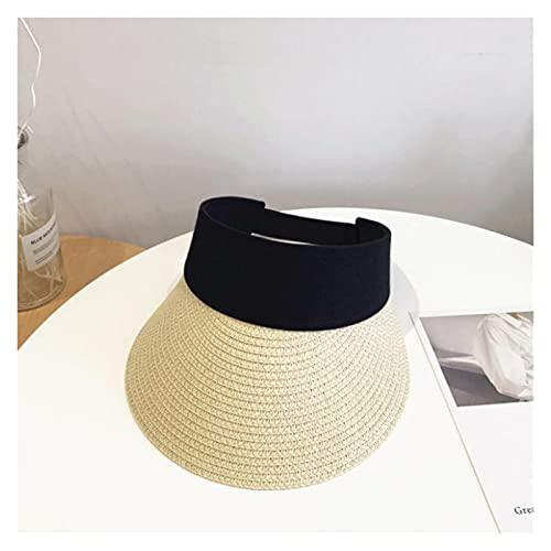 CDDKJDS Cinta Mágica Mujer Sombrero De Paja Vacío Top De Verano Sombrero Sol Protección Al Aire Libre Deportes Pesca Playa Pala (Color : Beige, Size : One Size)