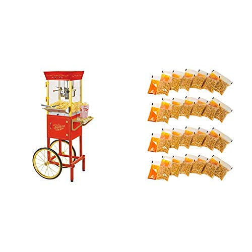 Find Bargain Nostalgia CCP510 Vintage 6-Ounce Commercial Popcorn Cart with 24 4-Ounce Premium Popcor...