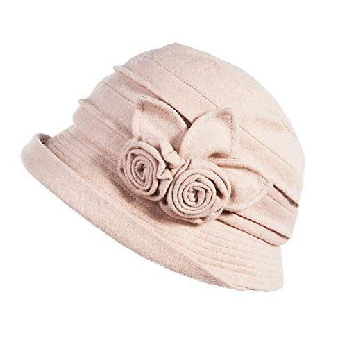 Fancet Señoras de lana Cloche sombrero para mujer invierno cubo redondo sombrero de los años 20 Vintage Derby Party Bowler suave triturable SIGGI