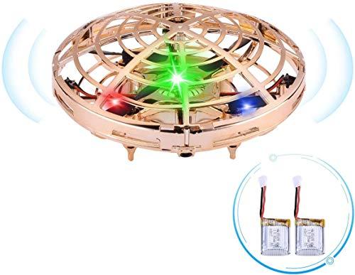 Powerextra Mini Drone para Niños — Mini UFO Drone Recargable Movimiento Control Mano Drones Juguetes Voladores con Luz LED RC Helicóptero Mini Quadrotor Regalos para Niños Adultos (2 x Bateías)