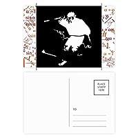 ブラックスキー冬のスポーツのイラスト 公式ポストカードセットサンクスカード郵送側20個