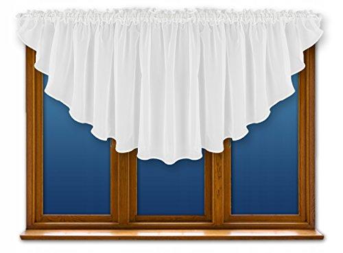 FKL Schöne Fertiggardine Fenstergardine Gardine aus Voile mit Faltenband Kräuselband Store Bogen Kurz Modern Weiß 80 x 300 cm LB-164