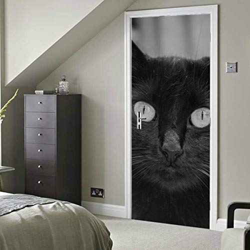 Gato Katze Ein Tier Kitty Cute Pet Feline Kitten selbstklebende Vinyl Abnehmbare Tür Aufkleber Für Klassenzimmer Kind Tapete 30x79 Zoll (77x200 cm) 2 Stücke
