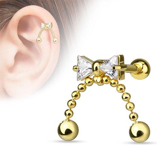 Helix piercing strik met hanger 14 kt. gold plated