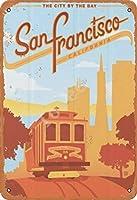TIBB シティザベイサンフランチェスコ レトロなスタイルの鉄板金壁ティンサインリビングプラークポスターノスタルジックなアート装飾8X12インチ