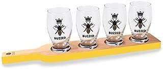 Wild Eye Designs Buzzed Beer Flight Tasting Set w/Paddle & 8oz Glasses