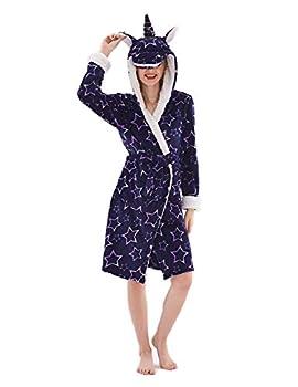 Women Unicorn Robe Adult Animal Bath Flanel Fleece Hooded Halloween Christmas Costume Sleepwear Cosplay Robe SP03 M