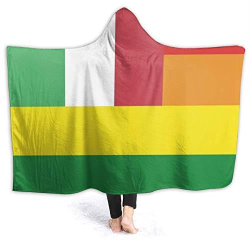 AEMAPE Bandera de Italia Manta con Capucha para Mujer Gay Manta de Franela súper Suave Sudadera con Capucha Bata con Capucha para Vestir Capa con Capucha para Ver películas 60 'x 50'