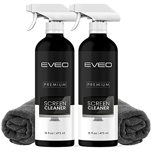 Screen Cleaner Spray (16oz x 2 Pack) - Large Screen Cleaner Bottle - TV Screen Cleaner, Computer Screen Cleaner, for Laptop, Phone, Ipad - Electronic Cleaner - Microfiber Cloth Included