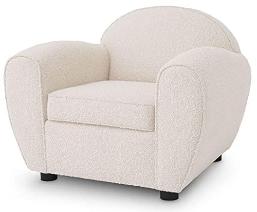 Casa Padrino sillón Art Deco de Lujo Crema/Negro 99 x 92 x A. 74 cm - Sillón de Salón - Muebles de Salón de Lujo
