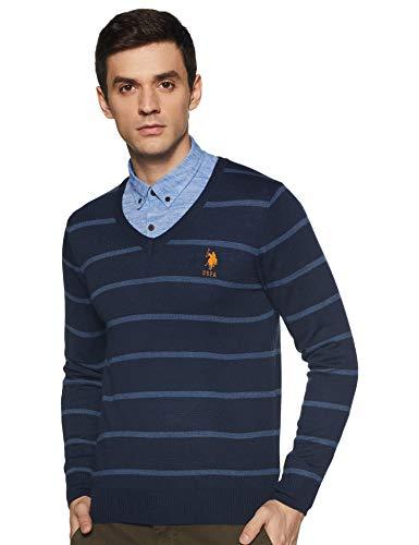 US Polo Association Men's Cotton Sweater (USSW0801_Navy Mel_S FS)