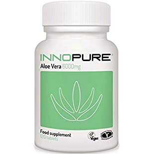 Aloe Vera Tablets, Half Price Introductory Offer | High Grade, Vegan, Vegetarian Society Approved | 120 Tablets x 6000mg | Innopure