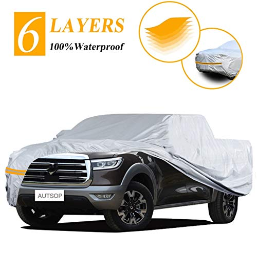 """Autsop Truck Cover, Truck Cover Waterproof All Weather,Outdoor Dust UV Hail Snow Protection Pickup Cover,Universal PK-M (Fit 200""""-210"""")"""