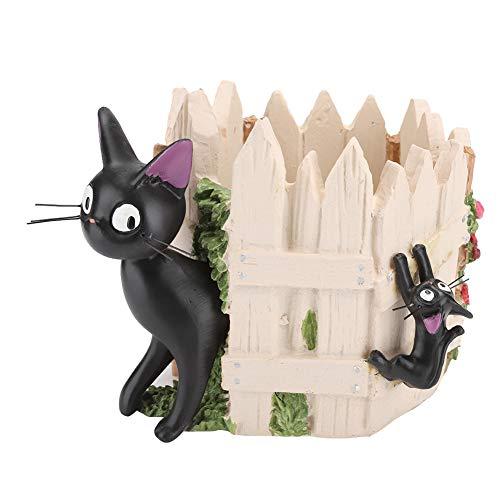 Bicaquu Maceta, Maceta para Plantas de Escritorio, Maceta suculenta de Resina, decoración de Dibujos Animados de Gato Negro, balcón para el alféizar de la Ventana del hogar, Oficina