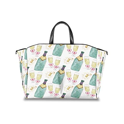 Bolsa de pañales Diap a mano, botella de vino de cristal, multifuncional, organizador impermeable para cochecito de bebé, bolsas de viaje para pañales con correa de velcro ajustable