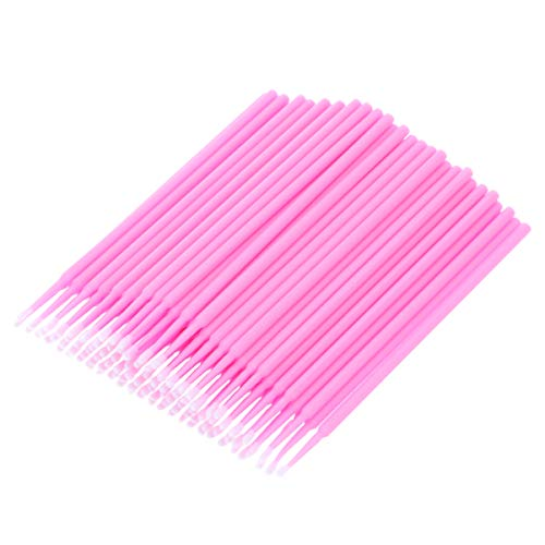 Healifty 100pcs micro aplicadores desechables pincel extensiones de pestañas microbrushes para cuidado personal belleza maquillaje tatuaje (rosa)