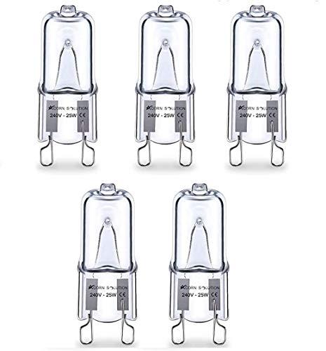 AcornSolution 5 x G9 Halogen Light Bulbs Clear Capsule 220V- 240V 25W