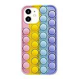 SDTEK Cover Rainbow Pop Compatible con iPhone 11, Cover Morbida in Silicone Multicolore Fidget...