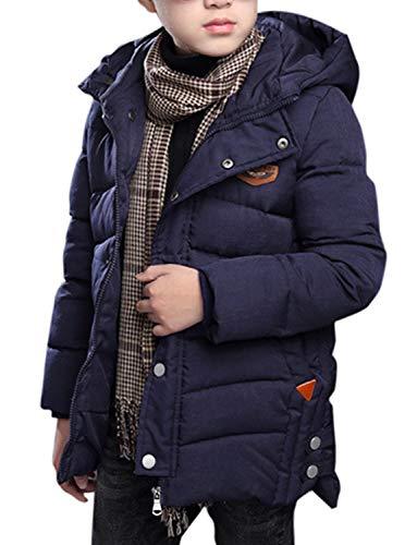 BELLOO Winterjacke für Jungen Daunenmantel Kinder Steppjacke mit Kapuze Verdickte Daunenjacke,Dunkelblau 158/164