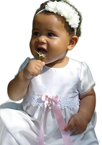 baptême Grace-princess en satin et dentelle avec manches courtes. (62, 3–6 mois, Coffre 18 en, Bleu Nœud)