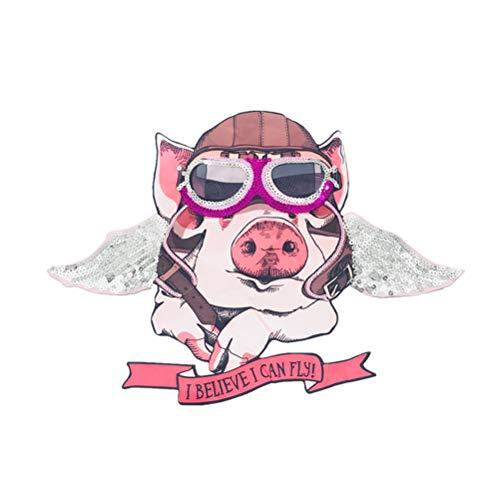 VOSAREA Schwein bestickte Patches Eisen auf Patches Tierstickerei Nähen Patches Applikationen für Jacken Jeans Rucksäcke