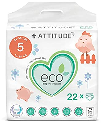 ATTITUDE Disposable Diapers for Sensitive Skin, Non-Toxic, Hypoallergenic, Chlorine-Free, Dye-Free & Lotion-Free Biodegradable Baby Diapers, Plain White (Unprinted), Size 5 (24-55 lbs), 22 Count