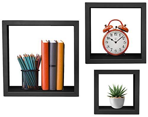 Sorbus Floating Shelves  Hanging Wall Shelves Decoration  Perfect Trophy Display, Photo Frames (Black)