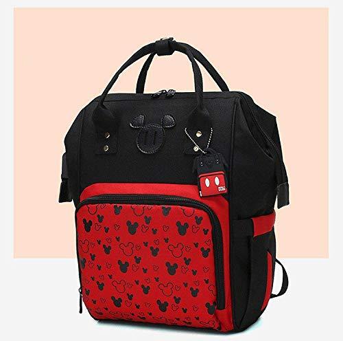 qiqiu Wickeltasche Rucksack Babytasche, Babyflaschen-Isolationstasche, Wickeltasche - Schwarzer Mickey-Mouse-Kopf Wickelrucksack für Mama