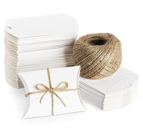 ABSOFINE 100 STK. Weiß Süßigkeiten Karton Hochzeit Gastgeschenke Geschenkboxen 7x9cm mit Juteschnur 60M für Süßigkeiten Schmuck Einladung Geschenk Party Fest