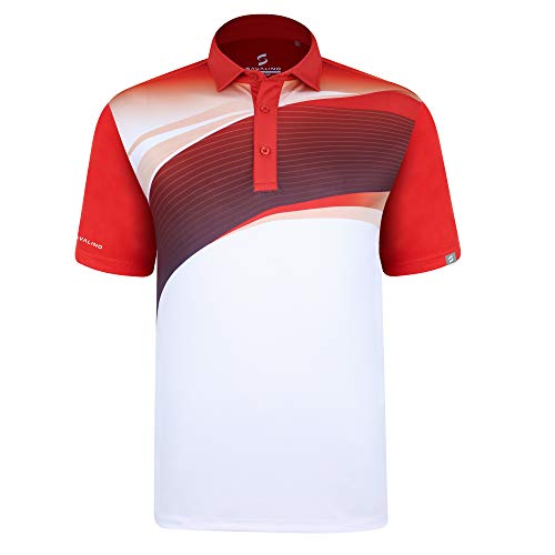 SAVALINO Men's Bowling Polo Shirts Material Wicks Sweat & Dries Fast, New Finishing Technologies to Combat Smell with Material Wicks Sweats & Dries Fast L Red