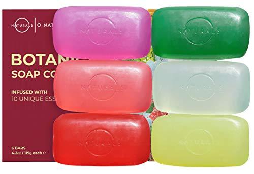 O Naturals Transparent Bar Soap Collection. 6-Pack Botanical Natural Soap Gift Box. Vegan, Vegetable Glycerin, Cleansing Moisturizing Essential Oils Bar Soap, for Men and Women 4.2oz
