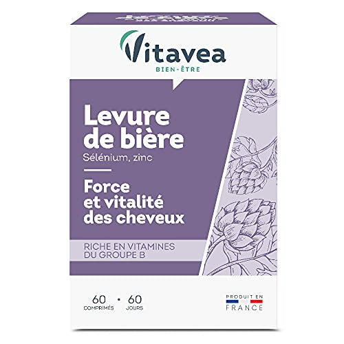 Vitavea - Levure de bière Biotine Zinc Sélénium : peau, ongles, cheveux - 500 mg 1 seule gélule/jour - 60 comprimés - Fabriqué en...