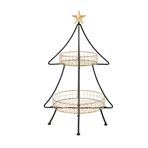 Pureday Weihnachtsdeko - Deko-Etagere Tannenbaum - Metall - Schwarz Gold - Höhe ca. 75 cm
